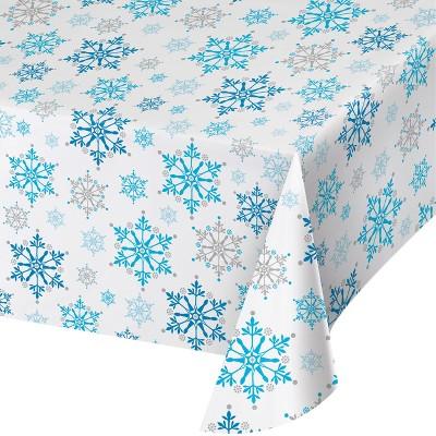 Snowflake Swirls Plastic Tablecloth Blue