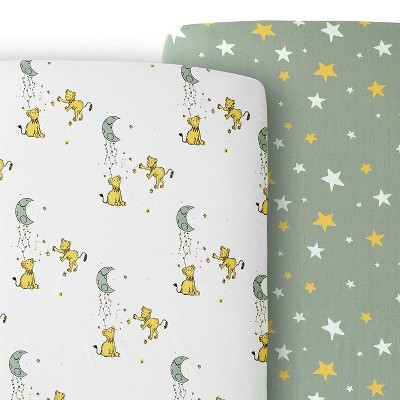 JumpOff Jo 100% Cotton Crib Sheet Set, Super Soft, Hypoallergenic, Breathable Crib Mattress Toppers, Lions & Stars, 2 Sheets