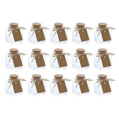 Juvale 15-Pack Mini Clear Glass Bottles with Cork Lids for DIY  Art Craft, 1.7-Ounce