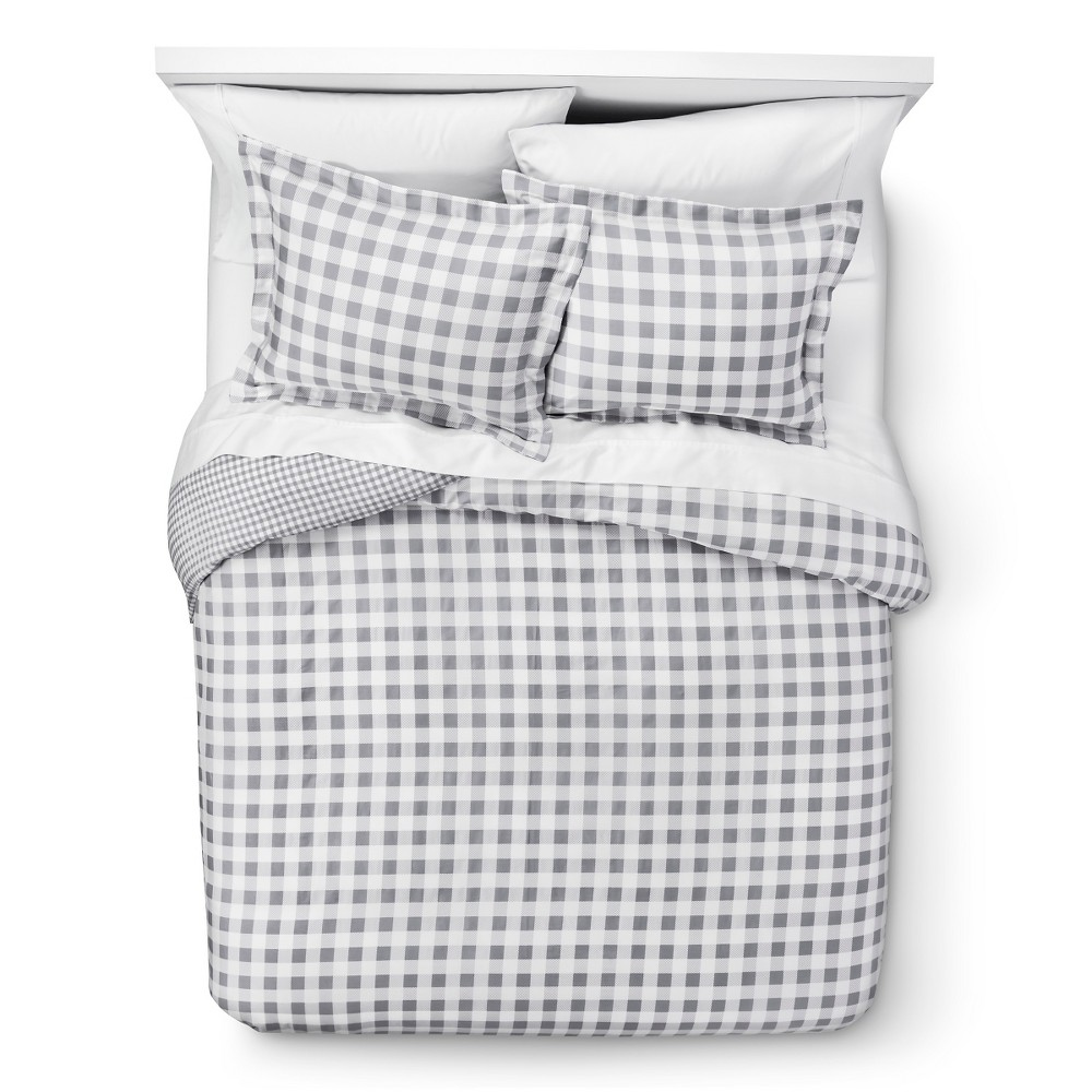 Gray Gingham Reversible Duvet Cover Set King 3pc - Elite Home Products