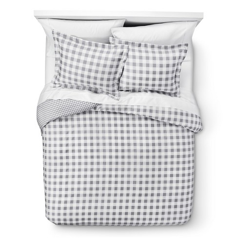 Gingham Reversible Duvet Cover Set 3pc - Elite Home Products - image 1 of 3