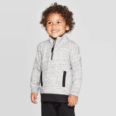 Toddler Boys' Nep French Terry Half Zip Pullover - Cat & Jack™ Gray 3T