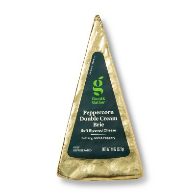 Peppercorn Double Cream Brie Soft Ripened Cheese Wedge - 8oz - Good & Gather™