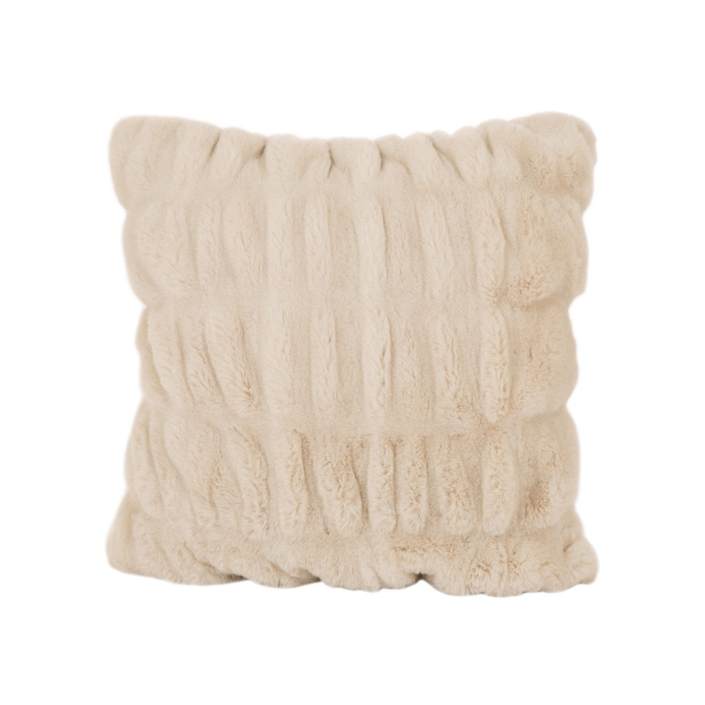 "Image of ""18"""" x 18"""" Faux Fur Elastic Cushion Cover Beige - Glitzhome"""