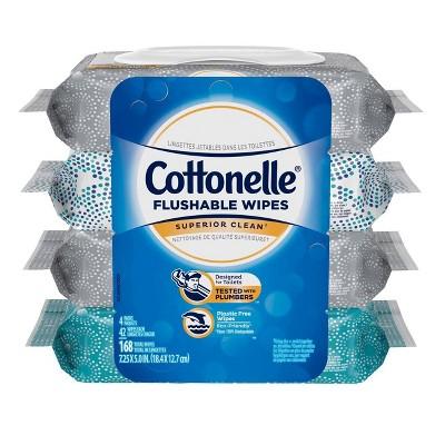 Cottonelle Superior Clean Flushable Wipes - 4pk/168ct
