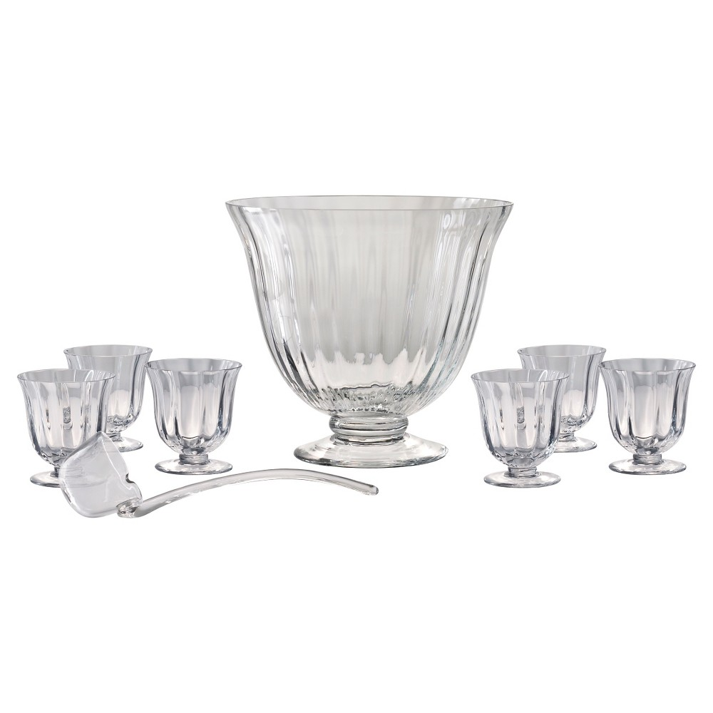 Artland Aspen 8pc Punch Bowl and Glasses Set, Clear