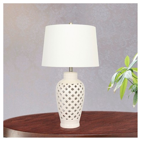 Ceramic Table Lamp With Lattice Design White 26 Target