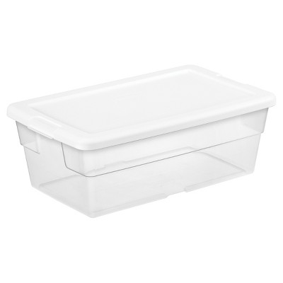 Sterilite 6 Qt Clear Storage Box White Lid