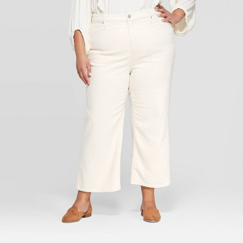Women's Plus Size Mid-Rise Wide Leg Cropped Jeans - Universal Thread™ White Wash - image 1 of 3