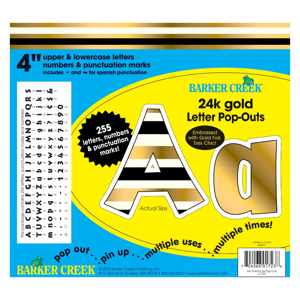 Image of Barker Creek 4 Letter Pop-Outs - 24k Gold with Gold Foil!
