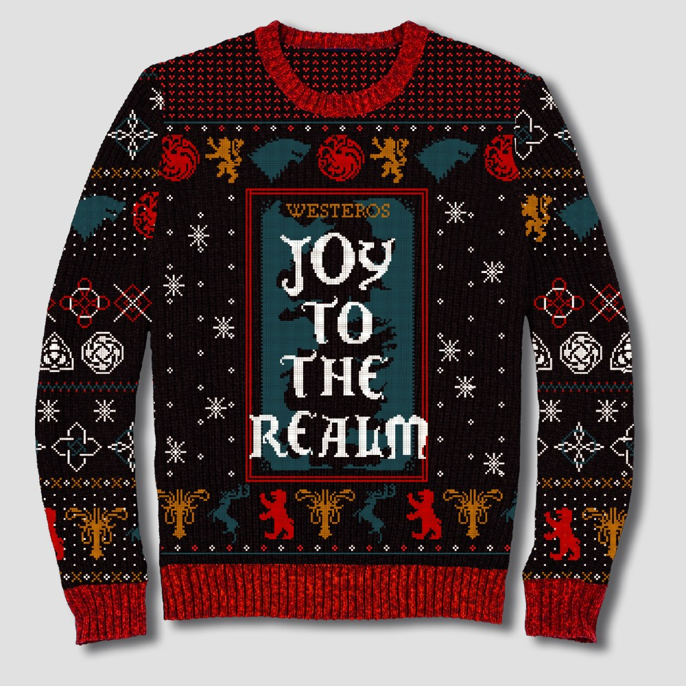 Men's Big & Tall Game of Thrones Joy to the Realm Pullover Sweater - Black 4XBT