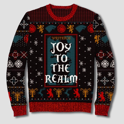 Mens Game Of Thrones Joy To The Realm Pullover Sweater Black Target