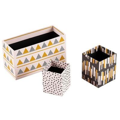 Juvale 3-Pack Cardboard Stationery Desk Organizer Set, 3 Assorted Designs (3 Sizes)