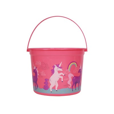 "8.5"" Plastic Easter Basket Pink with Unicorn Design - Spritz™"