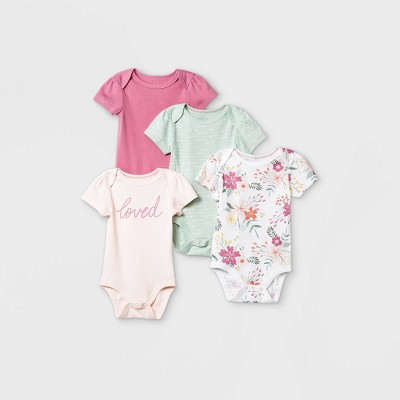 Baby Girls' 4pk Meadow Short Sleeve Bodysuit - Cloud Island™ White 3-6M