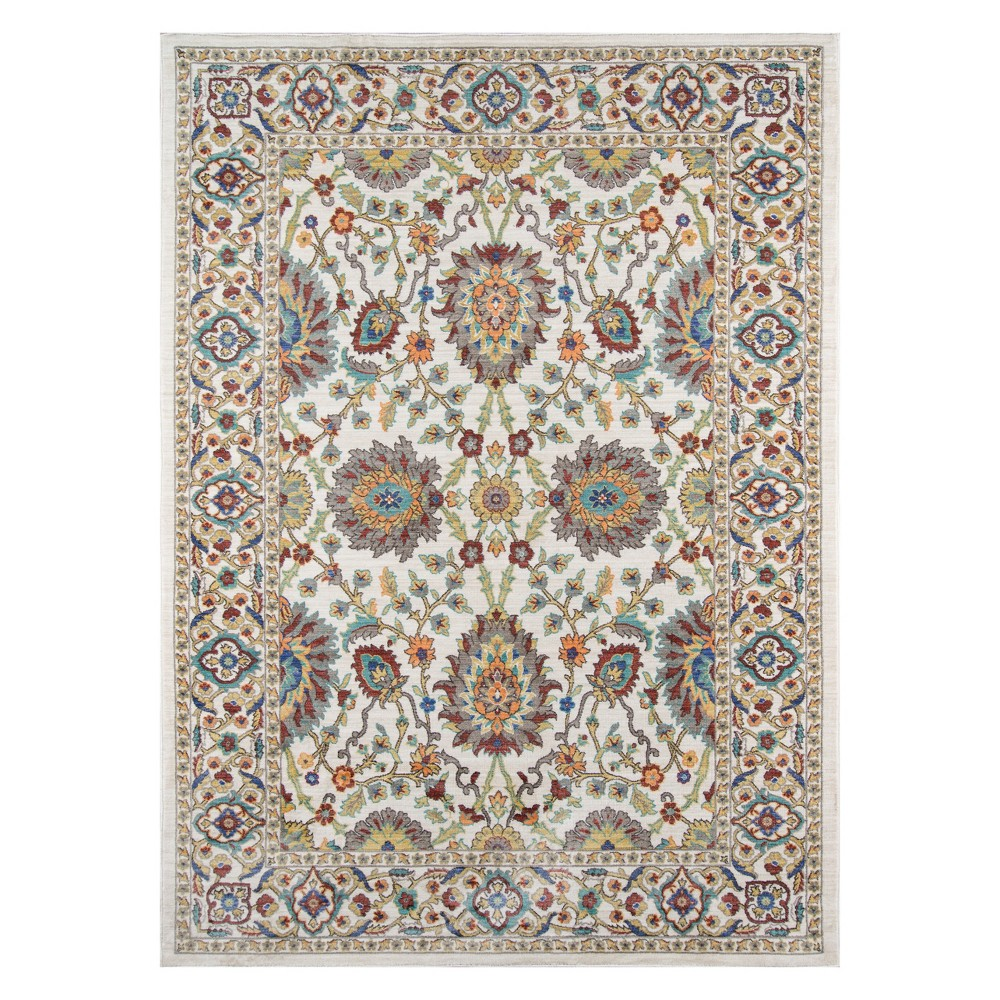 9'X12' Floral Loomed Area Rug Ivory - Momeni