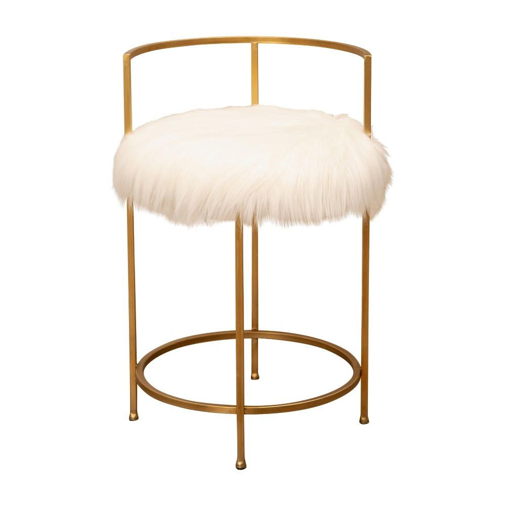 Louise Faux Fur Counter Stool Gold - Abbyson Living