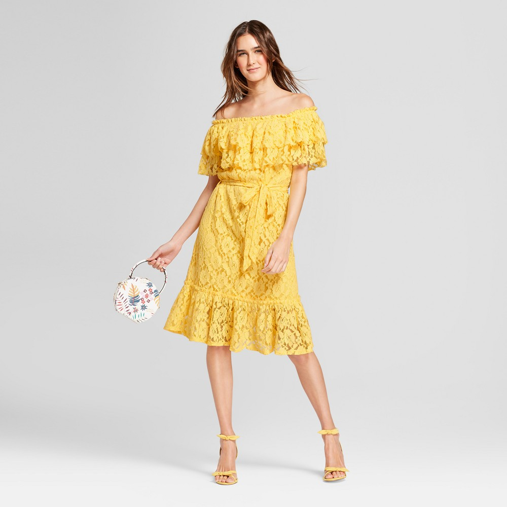 Image of Women's Double Marilyn Off the Shoulder Tie Waist Midi Dress - Alison Andrews Gold XL, Size: XL, Yellow