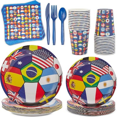 Blue Panda 168-Piece Serves 24 International World Cup Party Supplies - Disposable Plate, Napkin, Cup & Cutlery