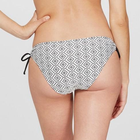 0973dba7a3 Women's Sun Coast Cheeky Textured Bikini Bottom - Shade & Shore™ B lack Geo  L : Target