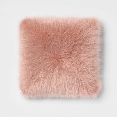 Faux Fur Square Throw Pillow Blush - Room Essentials™