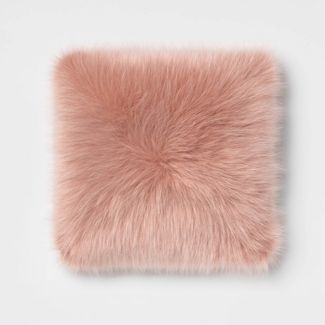 Faux Fur Square Throw Pillow Blush - Room Essentials™