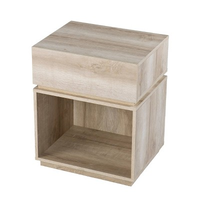 Gelday Side Table with Charging Station Whitewashed Oak - Aiden Lane
