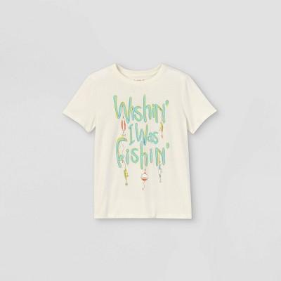 Boys' Short Sleeve 'Wishing I was Fishing' Graphic T-Shirt - Cat & Jack™ Cream
