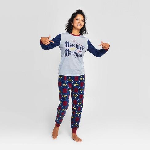 "Women's Harry Potter Holiday ""Mischief Managed"" Pajama Set - Navy - image 1 of 3"