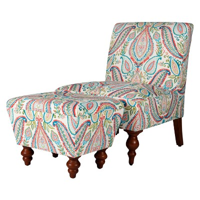 Slipper Accent Chair and Ottoman Coral/Turquoise - HomePop