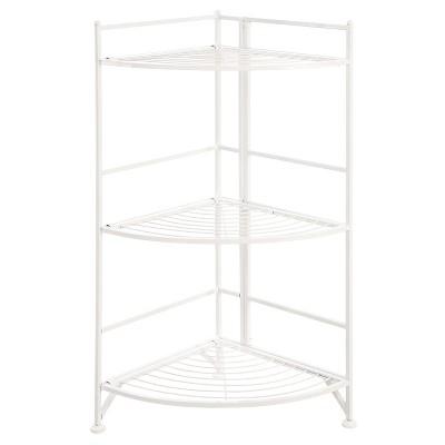 "32.25"" 3 Tier Corner Folding Metal Corner Shelf White - Breighton Home"