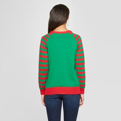 womens elf christmas sweater juniors green target
