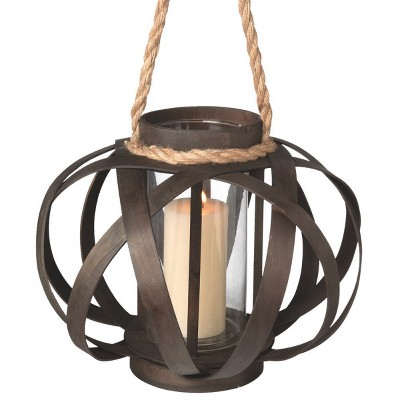 """Northlight 14"""" Large Brown Open Weave Pillar Candle Lantern with Tan Rope Handle"""
