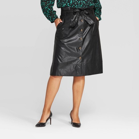 Women's Plus Size Mid-Rise Midi A Line Skirt - Who What Wear™ - image 1 of 3