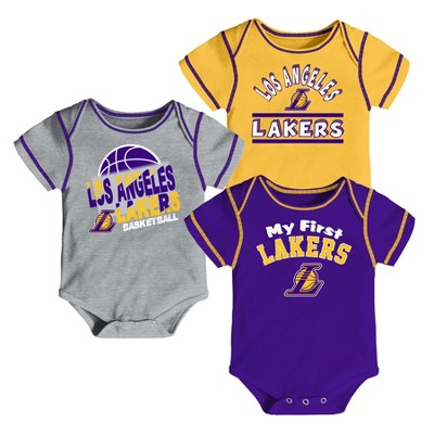 Los Angeles Lakers Boys' Rookie 3pk Body Suit Set 12 M