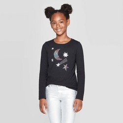Girls' Long Sleeve Flip Sequin Moon and Stars T-Shirt - Cat & Jack™ Black