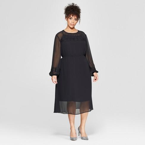 3a0a9400504c6 Women's Plus Size Long Sleeve Lace Mix Midi Dress - Who What Wear™ Black :  Target