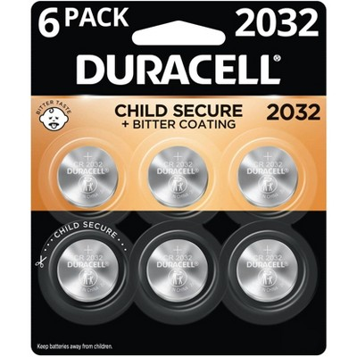 Duracell 2032 Batteries Lithium Coin Button - 6 Pack - Specialty Battery w/ Bitterant Technology