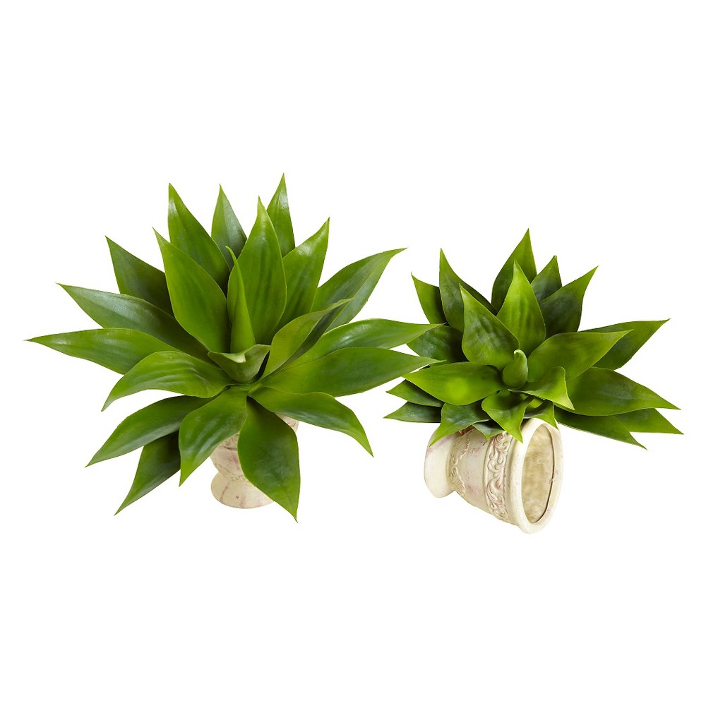 Nearly Natural 17 Agave Succulent Plant (Set of 2), Green