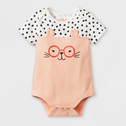 e2f553551018 Baby Girls  Short Sleeve Critter Face with Glasses Bodysuit - Cat ...