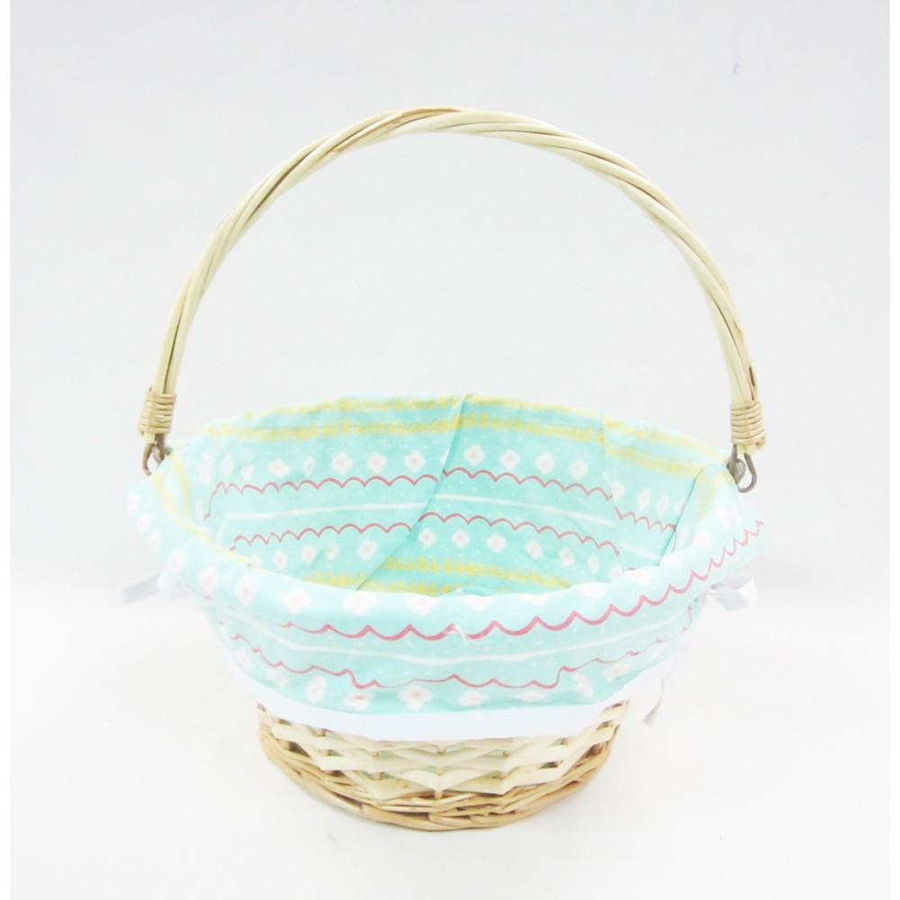 12 Willow Easter Basket with Turquoise Print Liner - Spritz, Multi-Colored