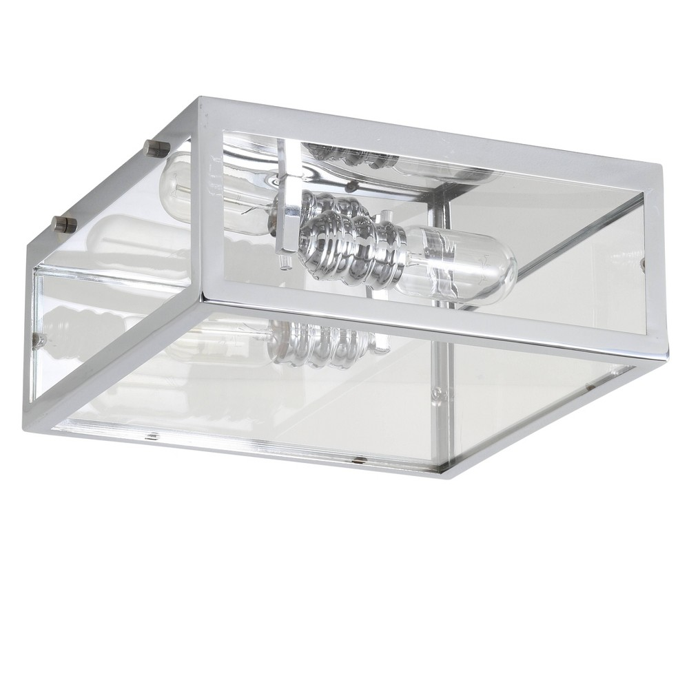 Image of 12 Grayson Metal/Glass Led Flush Mount Chrome (Grey) (Includes Energy Efficient Light Bulb) - Jonathan Y