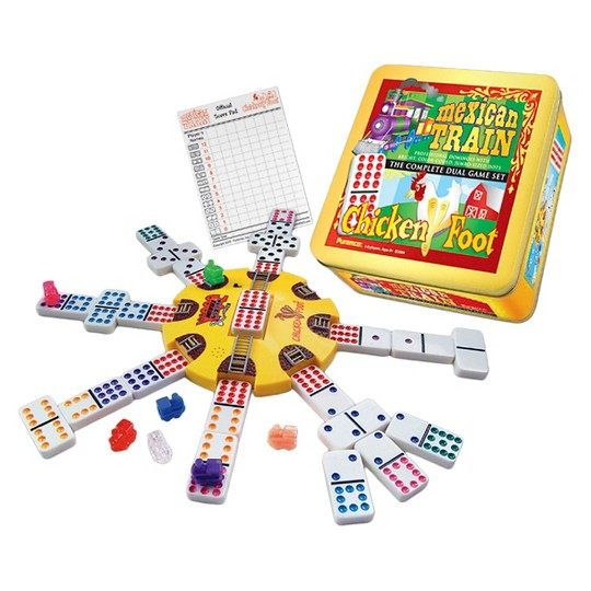 Puremco Mexican Train and Chickenfoot Dominoes Game Set with Tin image number null