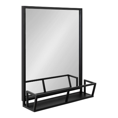 "22"" x 29"" Jackson Functional Wall Mirror Black - Kate & Laurel All Things Decor"