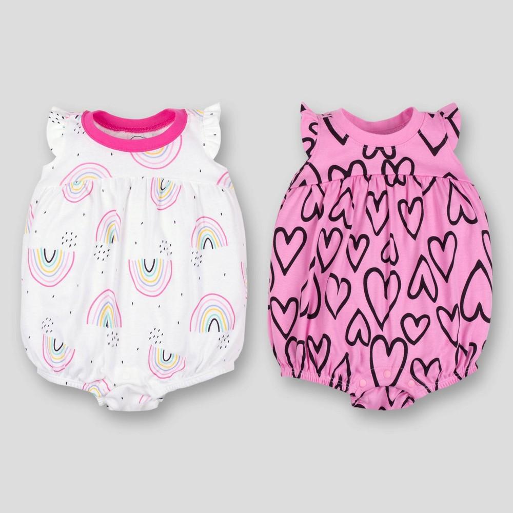395f190432a3 Lamaze Baby Girls 2pk Heart Bubble Rainbows Organic Cotton Romper PinkWhite  Newborn Multicolored