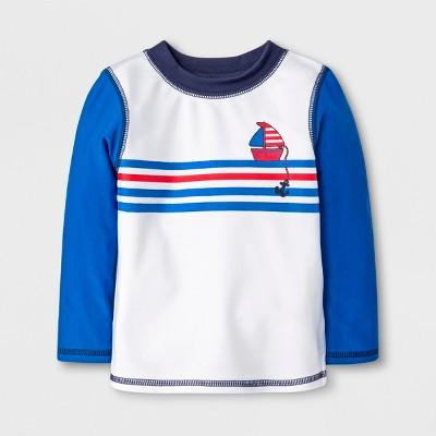Baby Boys' Sailboat Rash Guard - Cat & Jack™ Blue/White 3-6M