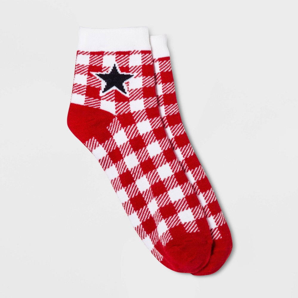 Women's Gingham Plaid Ankle Socks - Red One Size