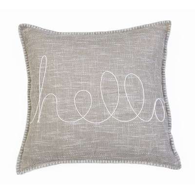 "20""x20"" Amy Hello Embroidered Whipstitch Pillow - Décor Therapy"