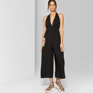 Women's Sleeveless Deep V-Neck Halter Jumpsuit - Wild Fable™ Black M