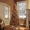 6.5ft Pre-Lit Rose Gold Tinsel Slim Artificial Christmas Tree - Puleo - image 2 of 3